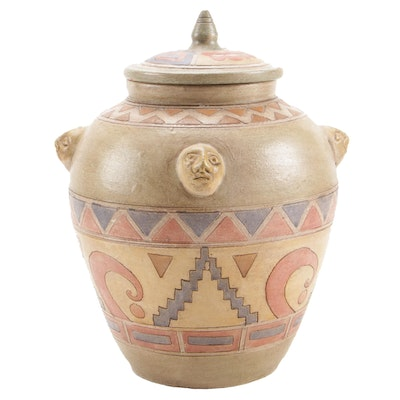 South American Inspired Art Pottery Lidded Vessel
