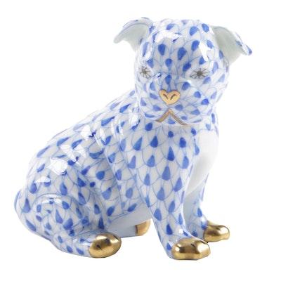 Herend Blue Fishnet Porcelain Sitting Pug Figurine