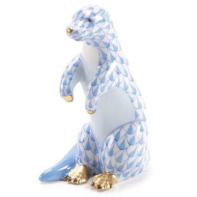 "Herend Blue Fishnet with Gold ""Standing Sea Otter"" Porcelain Figurine, Dec. 1999"