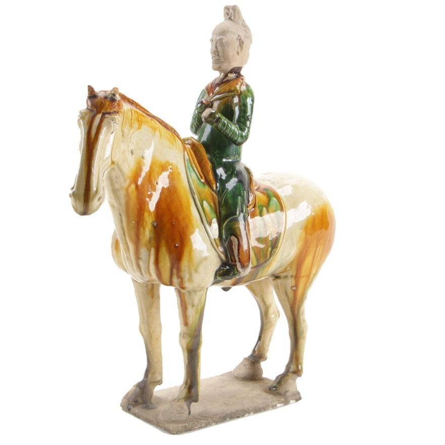 Chinese Warrior on Horseback Ceramic Figurine