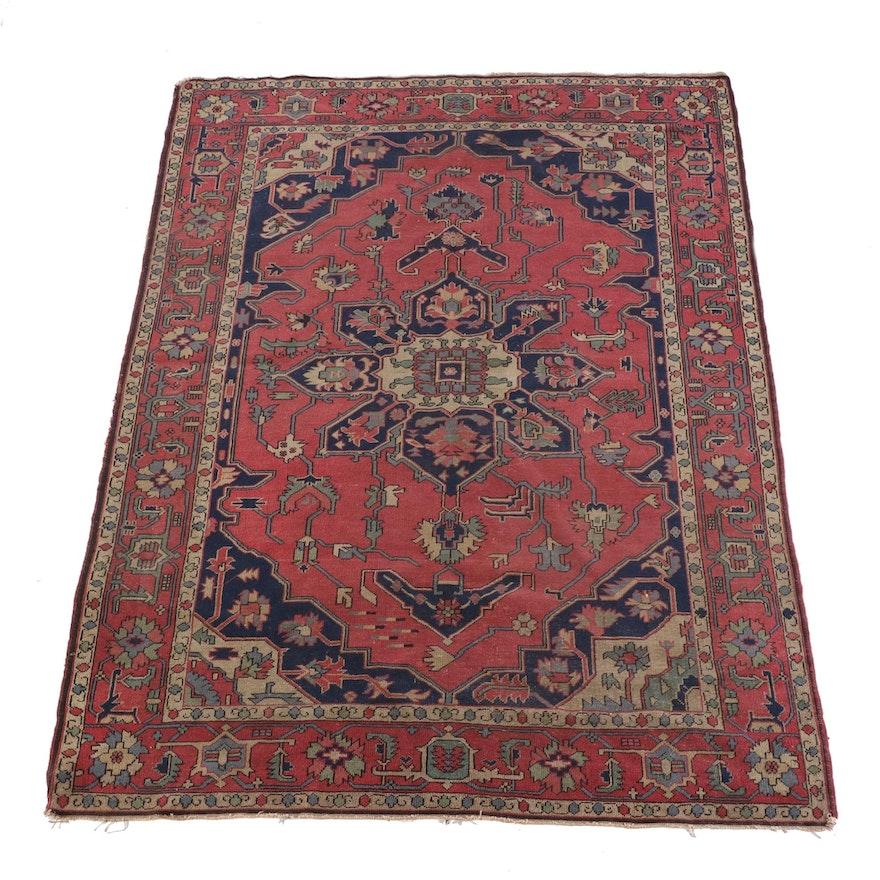 6'3 x 9'4 Hand-Knotted Persian Heriz Serapi Wool Rug