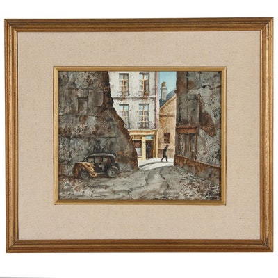"""Henry Gasser Watercolor Painting """"Old Paris Parking Lot"""""""