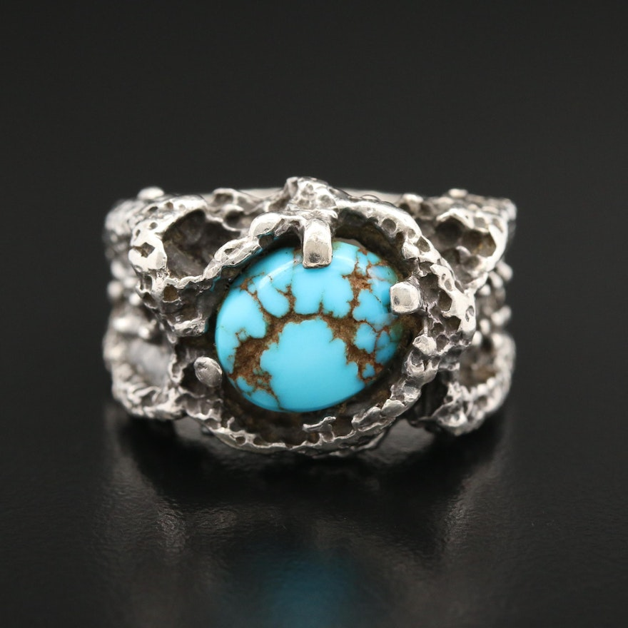Brutalist Style Sterling Silver Turquoise Ring