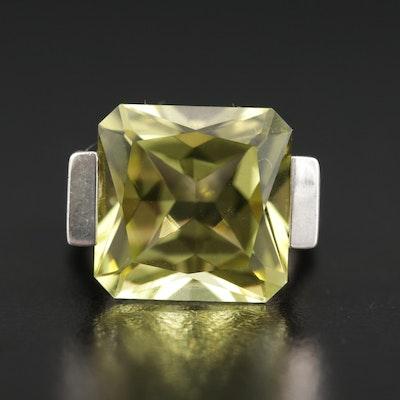 Sterling Silver Lemon Quartz and Diamond Ring