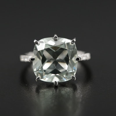 Sterling Silver Prasiolite Ring with Diamond Shoulders