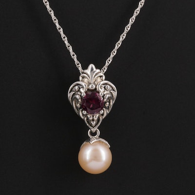 Sterling Silver Cultured Pearl and Rhodolite Garnet Pendant Necklace