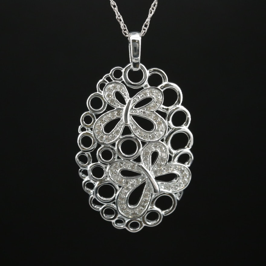 Fine Silver Diamond Openwork Butterfly Pendant on Sterling Serpentine Chain