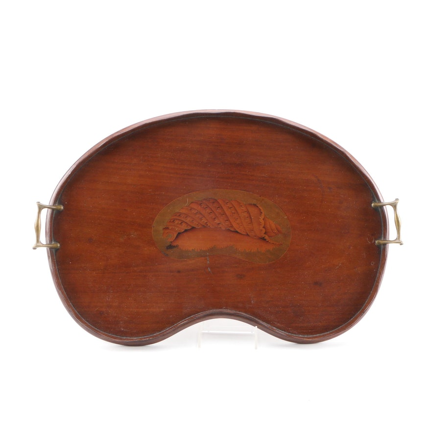 English Mahogany and Marquetry Kidney-Shaped Tray, Late 19th/Early 20th Century