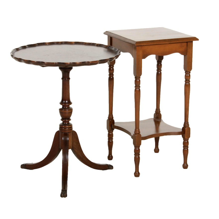 Pie Crust Side Table and Walnut End Table, Mid-20th Century