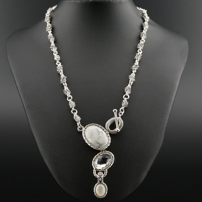 Michael Dawkins Sterling Necklace with Magnesite and Rock Quartz Crystal