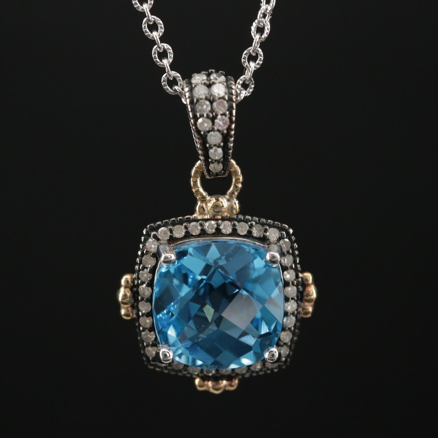Sterling Topaz and Diamond Pendant Necklace with 10K Gold Accents