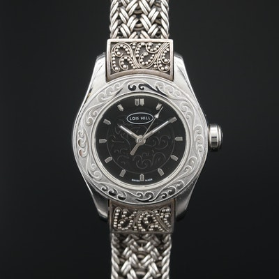 Lois Hill Stainless Steel and Sterling Silver Quartz Wristwatch