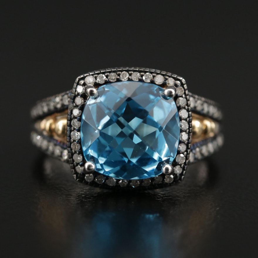 Sterling Topaz and Diamond Ring with 10K Gold Accents