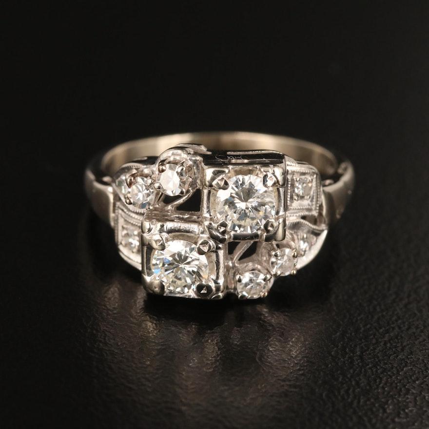 Vintage 14K White Gold Diamond Ring