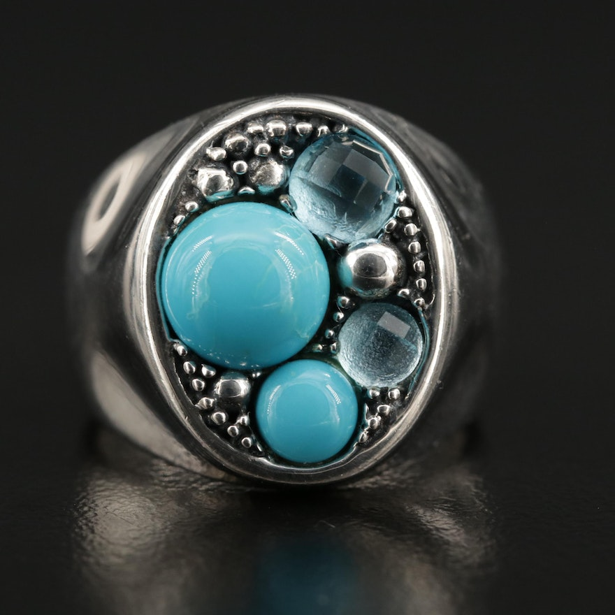 "Michael Dawkins ""Starry Night"" Sterling Silver Topaz and Turquoise Ring"