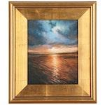 Oil Painting of Seascape Sunset Scene