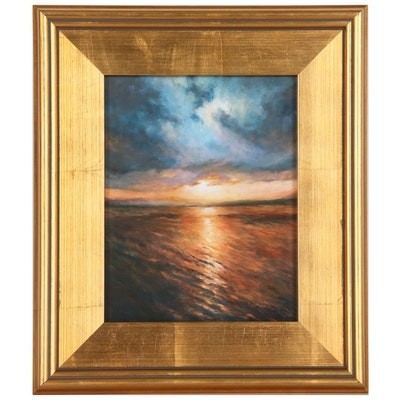 Oil Painting of Seascape Sunset Scene