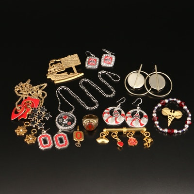 Ohio State Jewelry Selection Featuring Rhinestone and Enamel Accents