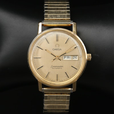 Omega Seamaster Gold Tone Automatic Wristwatch, Vintage