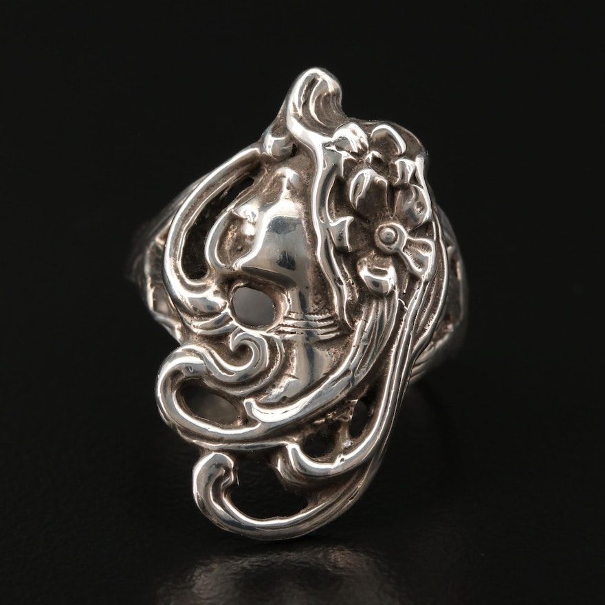 Art Nouveau Style Sterling Silver Ring