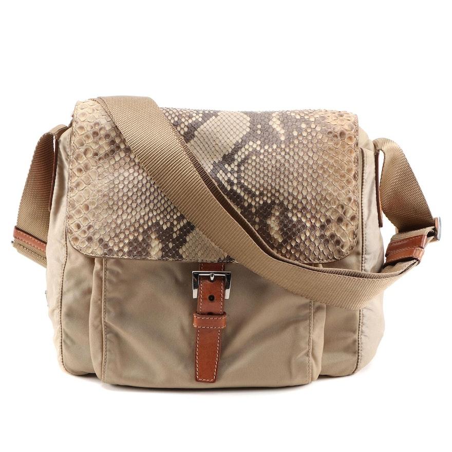 Prada Python Flap Crossbody Bag in Beige Tessuto Nylon and Tan Leather