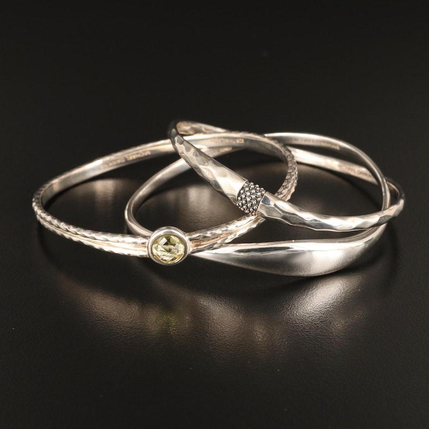 Assorted Michael Dawkins Sterling Silver Bangle Bracelets Featuring Prasiolite