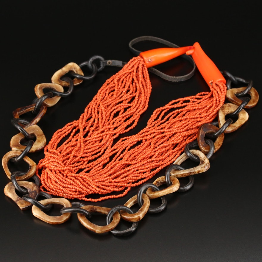 Vintage Carved Horn and Multi-Strand Necklaces