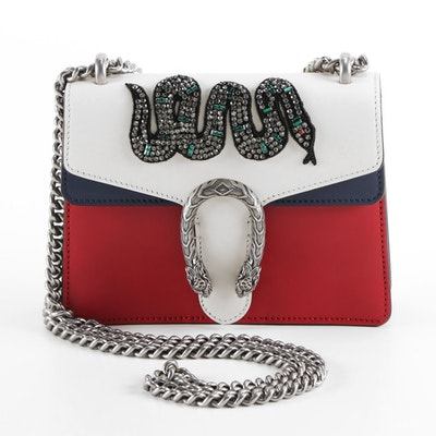 Gucci Embellished Dionysus Mini Bag in Red, Off-White and Blue Leather