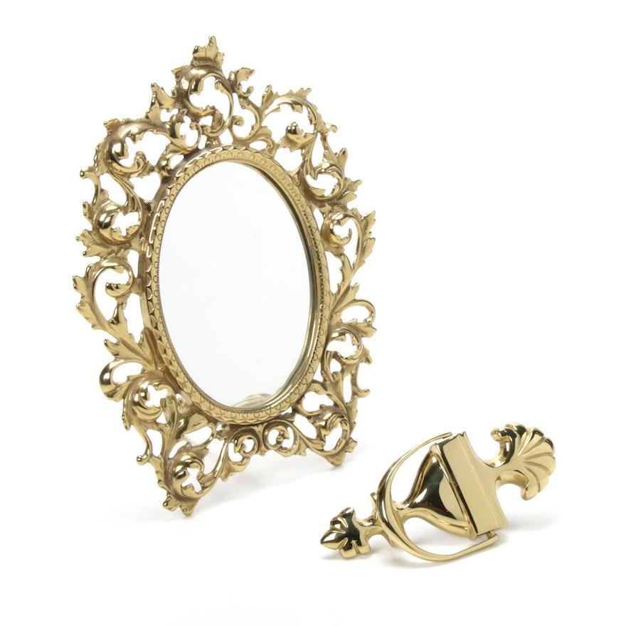Brass Tabletop Mirror and Door Knocker