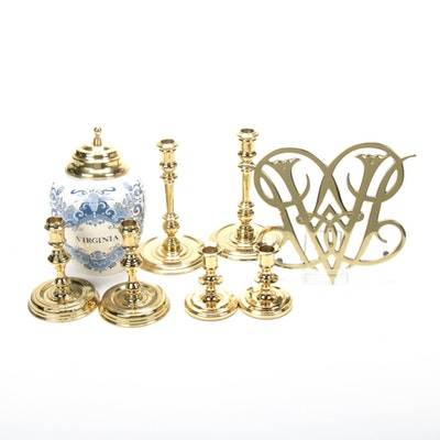 Brass Candle Holders, Trivet, and Ceramic Jar with Brass Lid