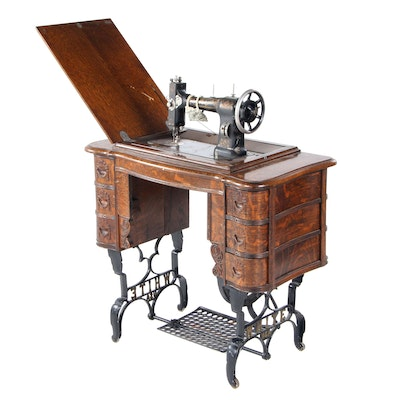 White Cast Iron and Oak Sewing Machine, Early 20th Century