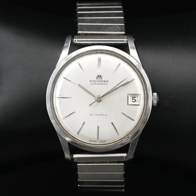 Bucherer Stainless Steel Automatic Wristwatch, Vintage