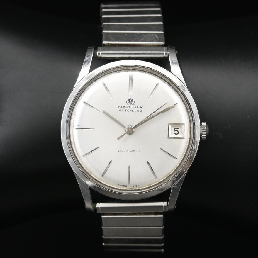 Bucherer Stainless Steel Automatic Wristwatch, Vintage