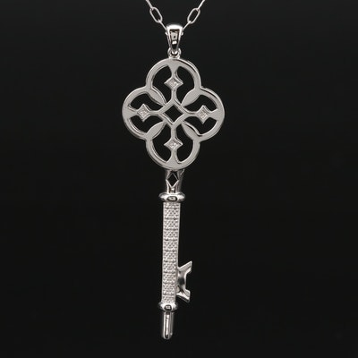 Sterling Silver Diamond Key Pendant Necklace
