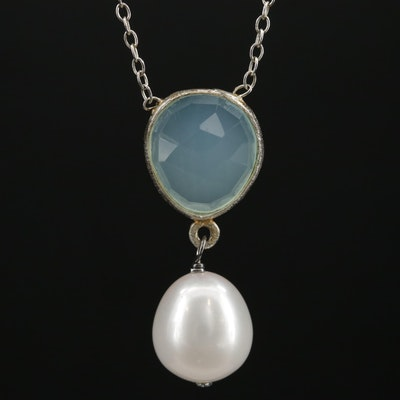 Sterling Silver Pearl and Chalcedony Necklace