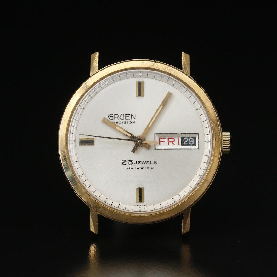 Vintage Gruen Precision Day-Date Gold Tone Automatic Wristwatch
