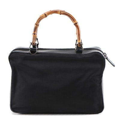 Gucci Bamboo Handbag in Black Nylon and Glazed Leather