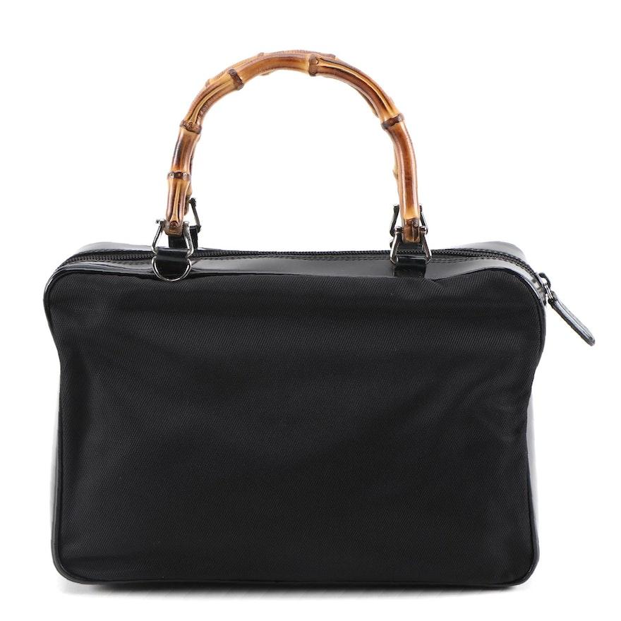 Gucci Bamboo Handbag in Black Nylon and Glazed Leather