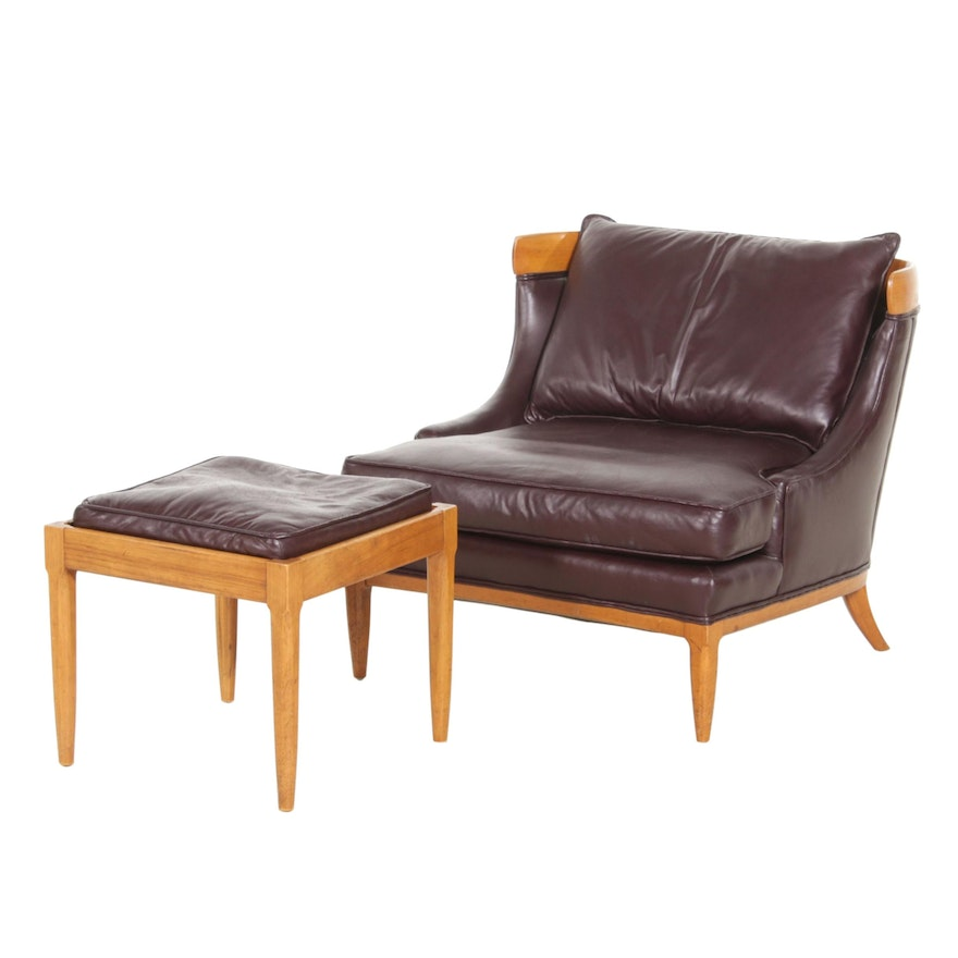 Leather Upholstered Club Chair with Ottoman