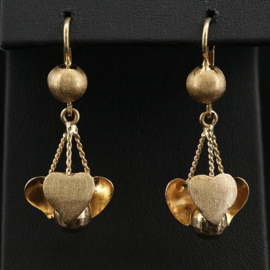 18K Yellow Gold Dangle Earrings Featuring Heart Motif