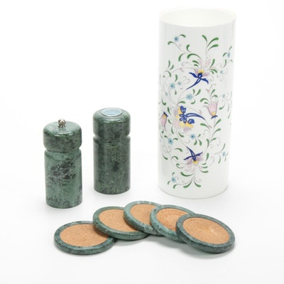 "Stone Salt & Pepper Grinder, Stone and Cork Coasters and Coalport ""Pageant"" Vase"
