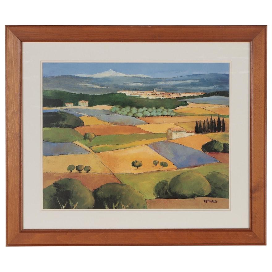 Offset Lithograph after Elisabeth Estivalet of Pastoral Landscape