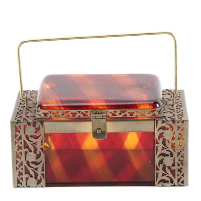 Tyrolean Translucent Striped Lucite Box Purse with Openwork Trim, 1950s Vintage