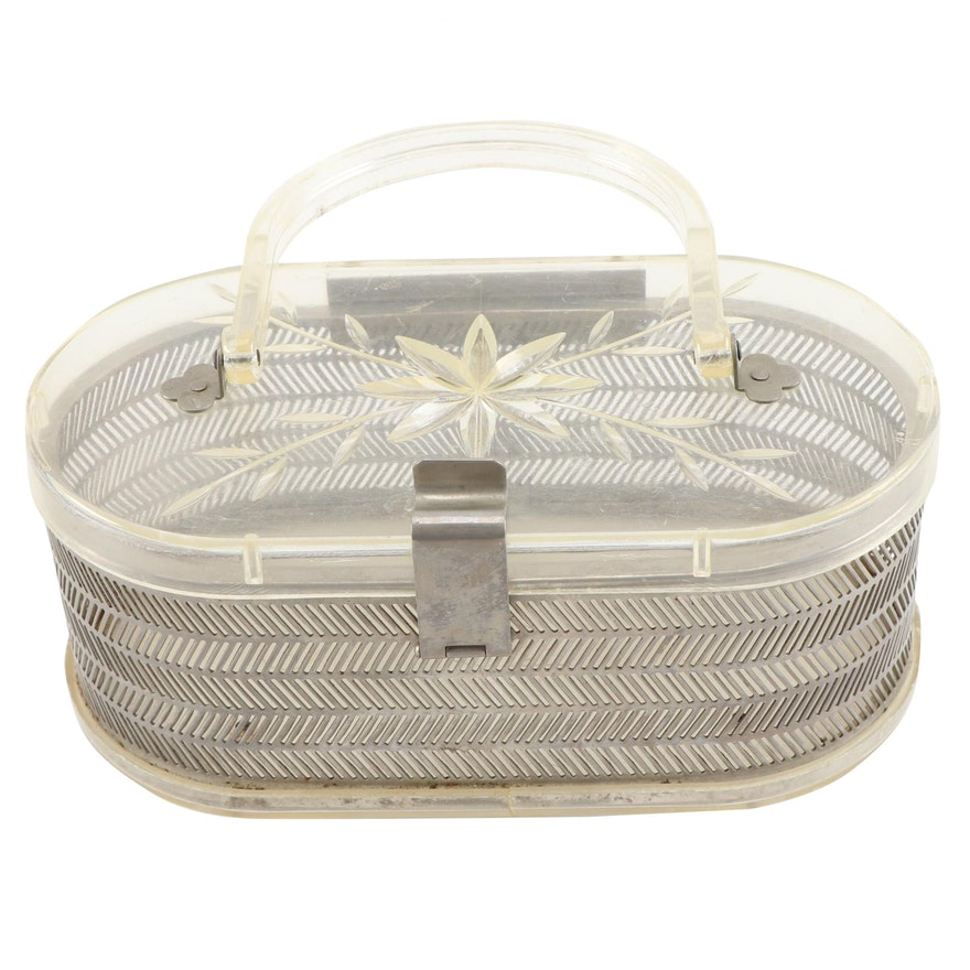 MW Handbags Etched Lucite and Pierced Metalwork Purse, Mid-20th Century