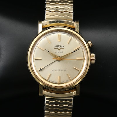 Vintage Vulcain Cricket Gold Tone Stem Wind Alarm Wristwatch