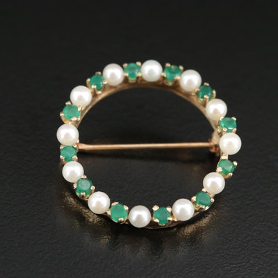 14K Pearl and Chalcedony Circle Brooch