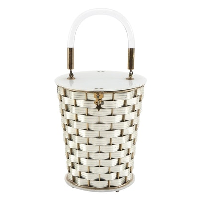 Dorset Rex Woven Basket Bag with Pearlescent Lucite Lid and Base, 1950s Vintage