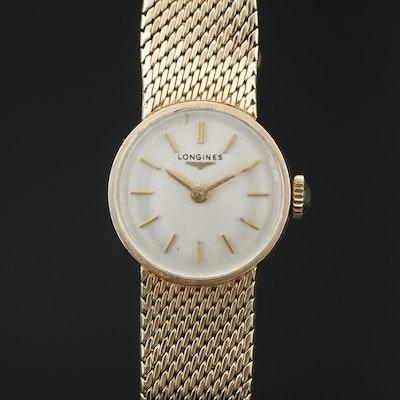 Vintage Longines 9K Gold Stem Wind Wristwatch, 1966