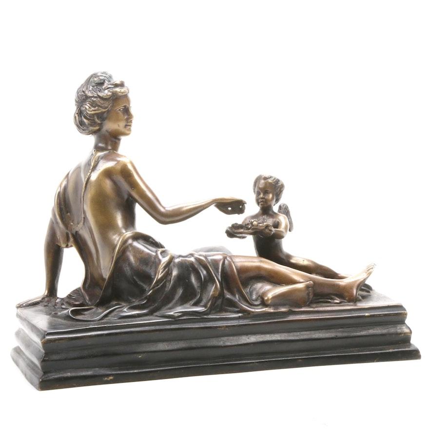 Art Nouveau Cast Bronze Sculpture of Woman with Cherub