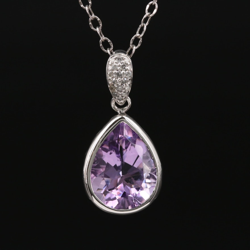 Sterling Silver Amethyst and Diamond Pendant Necklace